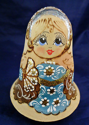 Vintage Russian Roly Poly Wobble Wooden Doll with Musical Bell Chime Ball -o3