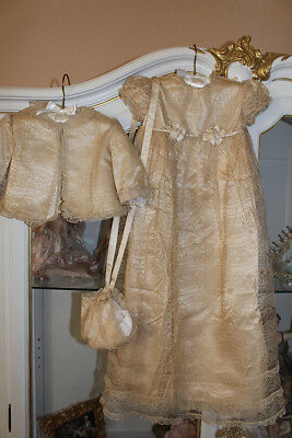 Gorgeous Antique Christening Baptism Ensemble Gown Debenham & Freebody ca.1910