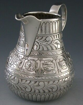 RARE VICTORIAN STERLING SILVER ZODIAC CREAM JUG 1885 ENGLISH ANTIQUE 126g