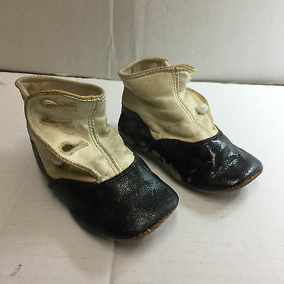 Vintage Antique early Black and White 1900s Leather Baby Shoes Collectibles
