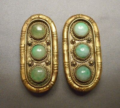 Beautiful Pair of Antique Chinese Jade Jadeite & Vermeil Oblong Brooch Clips