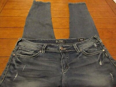 SILVER Plus Size 18 / 31 Distressed SKINNY JOGA Jeans. Measurements listed CUTE
