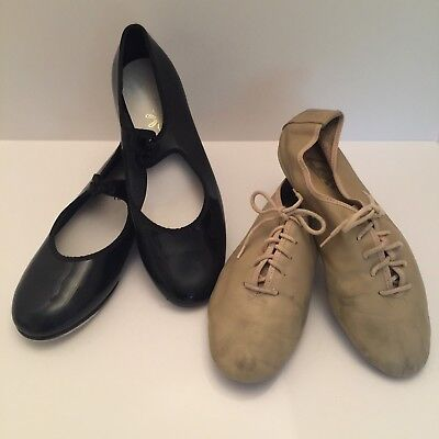 Womens Black Tap Shoes Size 6 (Girls 4) LEOS Tan Leather Jazz Shoes 2 PAIR LOT