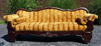 Antique Empire Couch, Sofa - Golden Orange & Mohagany - Photo, Movie, Band Prop