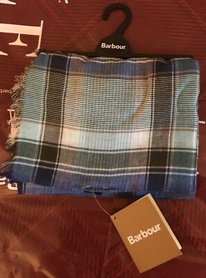 Brand New With Tags BARBOUR Tartan Blue Cotton Unisex Scarf Large High Quality