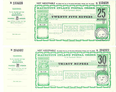 MAURITIUS Postal Orders, 17 different, 50c to 30R, 1976-89