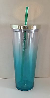 Starbucks Double Wall 24 oz. Venti Cold Cup Tumbler Turquoise Aqua Blue ~New~