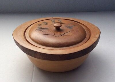 *RARE* Center Piece OLD ANTIQUE HAND Crafted/TURNED WOOD LIDDED BOX Japan