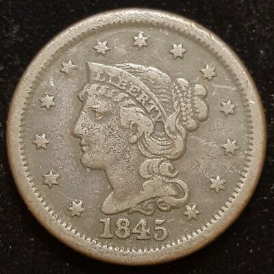 1845 Braided Hair Large Cent Nice Coin For Your Collection Free Shipping