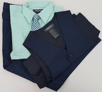 NWT Boy's Kenneth Cole Reaction 3-Piece Suit Outfit, Navy/Mint, Size 6