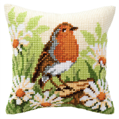 Robin/Christmas Large Holed Printed Tapestry Canvas Cushion Kit - Cross Stitch