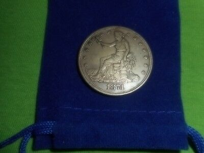 1874-S Trade dollar, always in demand!. Almost uncirculated, AU, XF rare coin!