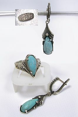 Nice modernist Set Earrings Blue Stones Ring Size 8.5 SILVER 925 Ukraine 9.98g