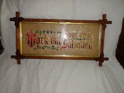 Antique Adirondack-Framed  Victorian Embroidered Paper Motto Sampler WORK OUT ..