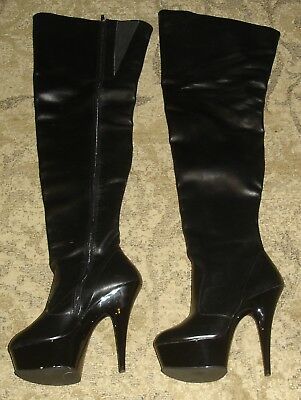 Pleaser Black Leather Thigh High Women's Boots Size 8M Stiletto Platform Fetish