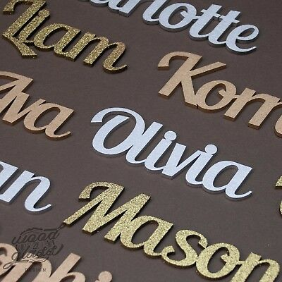Script Names Letters Words MDF Personalised Wooden  20 fonts Painted Gold Silver