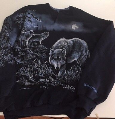 Vtg 90s XL Wolf Sweatshirt Navy Blue Full Moon Wolves Smoky Mountains Button Top