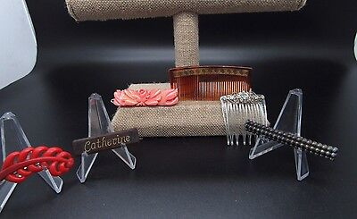 Vintage Barrettes & Comb Hair Comb Celluloid Hair Accessories Catherine Barrette