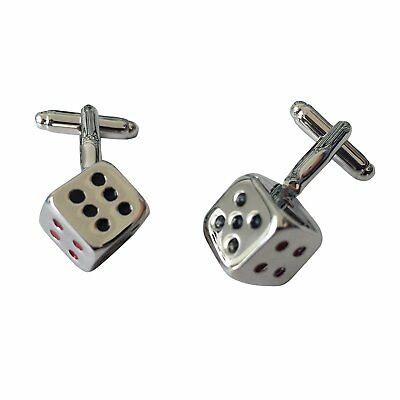 Colorful Dice Mens Stainless Steel Cufflinks with Black Velvet Gift Bag by