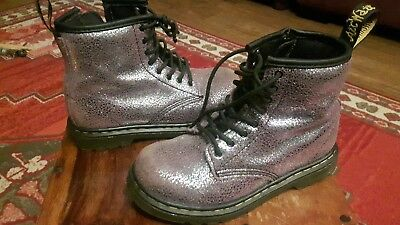 Lilac glitter CHILDS DR MARTENS BOOTS air wair bouncing  SIZE UK 9 EUR 27