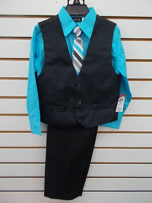 Boys Holiday Editions $34.99 4pc Black & Turquoise Vest Suit Size 5 - 12