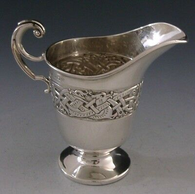 ENGLISH STERLING SILVER CELTIC DRAGON DESIGNED CREAM JUG 1915 ANTIQUE 80g
