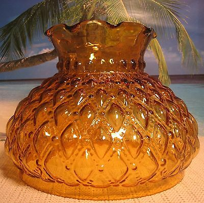 Old Amber Quilted Diamond Design Glass Shade For Oil Kerosene Or Electric Lamp