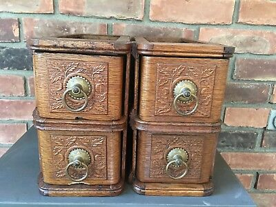 2 Sets of 2 White Sewing Machine Cabinet Drawers Antique Vintage 1900's