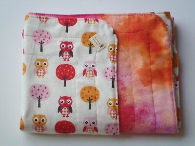 Handmade Double Sided Baby Girl Receiving Blanket Red Orange Owls