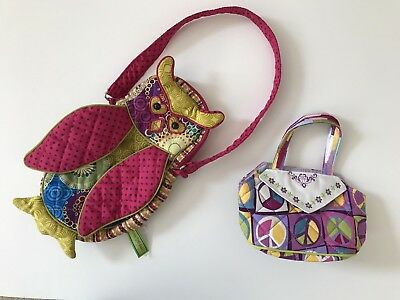 Lot of 2 Sassy Pet Saks By Douglas Colorful Owl Girls Purse Peace sign tote EUC!