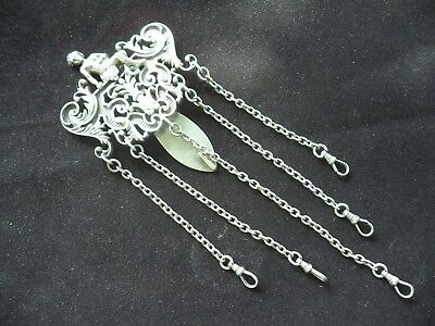 Great Gorham Sterling Silver Art Nouveau Chatelaine W / Cherub