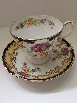Tuscan multi colored floral teacup and saucer