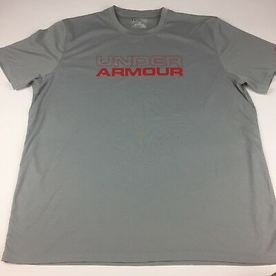 Under Armour Mens Graphic Gray Short Sleeve Athletic Loose Fitted Shirt Size XL