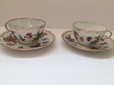 antique RK Germain floral tea cups and saucers set of 2