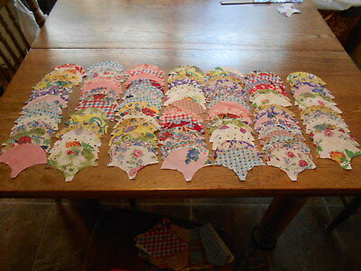 Vintag Antique 100 Clam Sell Quilt Blocks ALL Feed Sack Cotton 3 1/2X4 1/2 1940s