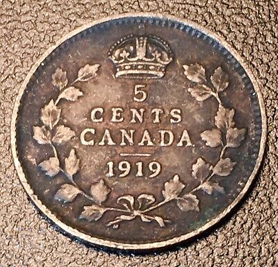1919 Canada Silver 10 Cents - Excellent Condition Luster & Tone -