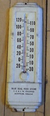 "Vintage 9"" Metal Blue Seal Feed Store Thermometer Stackpole Montpelier VT Works"