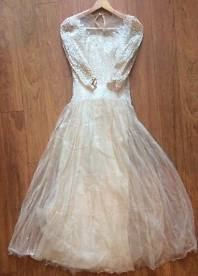 """Lovely 1890 Antique Vintage Proper Country Wedding Dress LACE  24"""" w 30"""" b AS IS"""