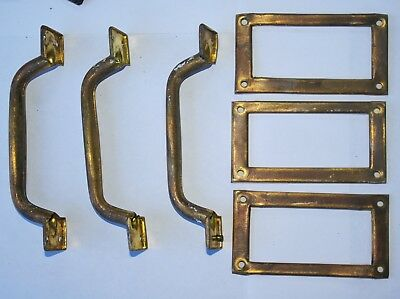 Set 3 Vintage BRASS DRAWER PULLS / HANDLES WITH LABEL HOLDERS Filing Cabinet   A