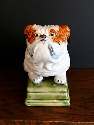 Large Porcelain Figurine of a ENGLISH BULLDOG Sitting on a Pedestal