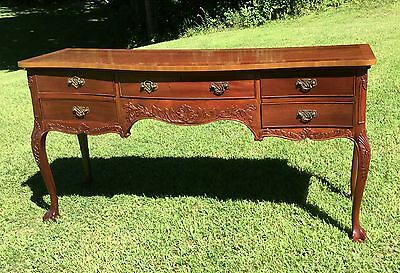 Banded Carved Chippendale Style Sideboard