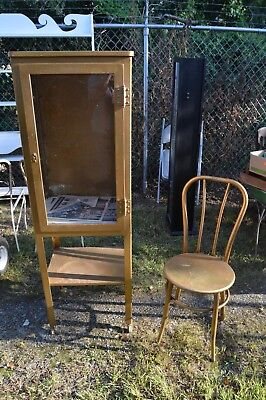 Vintage Doctor or Apothecary Metal Cabinet on Casters & Chair