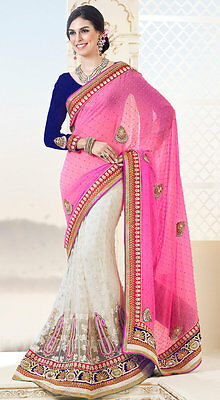 Pink Indian Designer Party Wear Saree Heavy Bollywood Bridal Wedding Sari