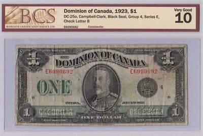 1923 DOMINION OF CANADA $1 ONE DOLLAR DC-25o CAMPBELL CLARK E6090692 GRADED VG10