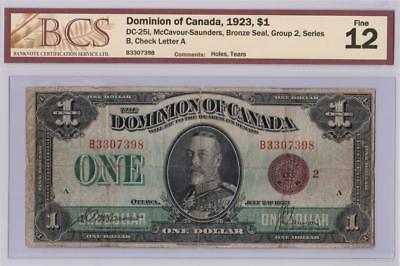 1923 DOMINION OF CANADA $1 DOLLAR DC-25i McCAVOUR SAUNDERS B3307398 GRADED F12