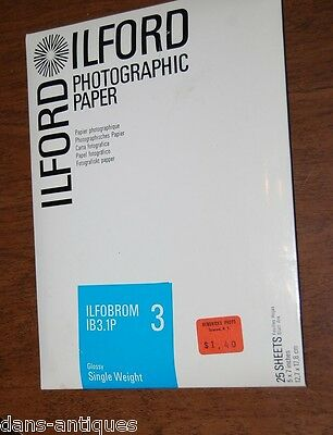 """Ilford photographic paper 25 sheets 5""""x7""""  Glossy Single Weight"""
