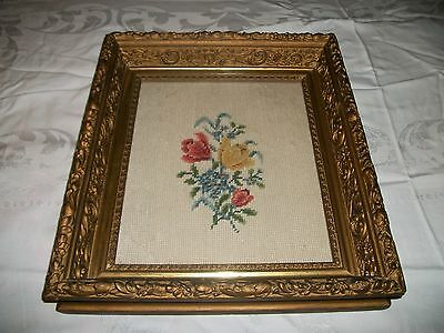Antique Vintage Ornate Shadow Box Frame Wood & Gesso w/Needle point Flowers