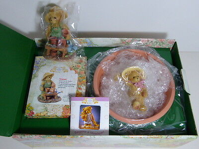 Cherished Teddies Tristan CT108 Charter Members Only 2002 Gift Set And Planter
