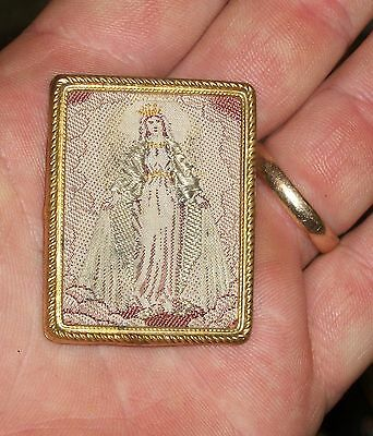 Vtg Religious Icon Mini Scapular Needlework Embroidery Sewn Mother Mary Germany