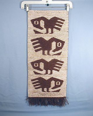 Vintage Handwoven Wool Textile Wall Hanging Stylized Bird In The Chimu Style